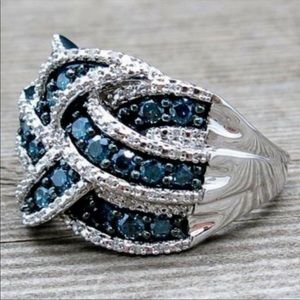 New Sapphire Sterling Silver Diamond Ring